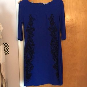 Blue dress with black detail, worn once!